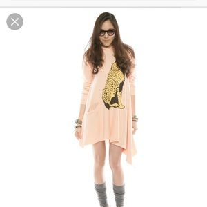 NEW!! Gray Wildfox Cheetah Hoodie Dress Sz MED